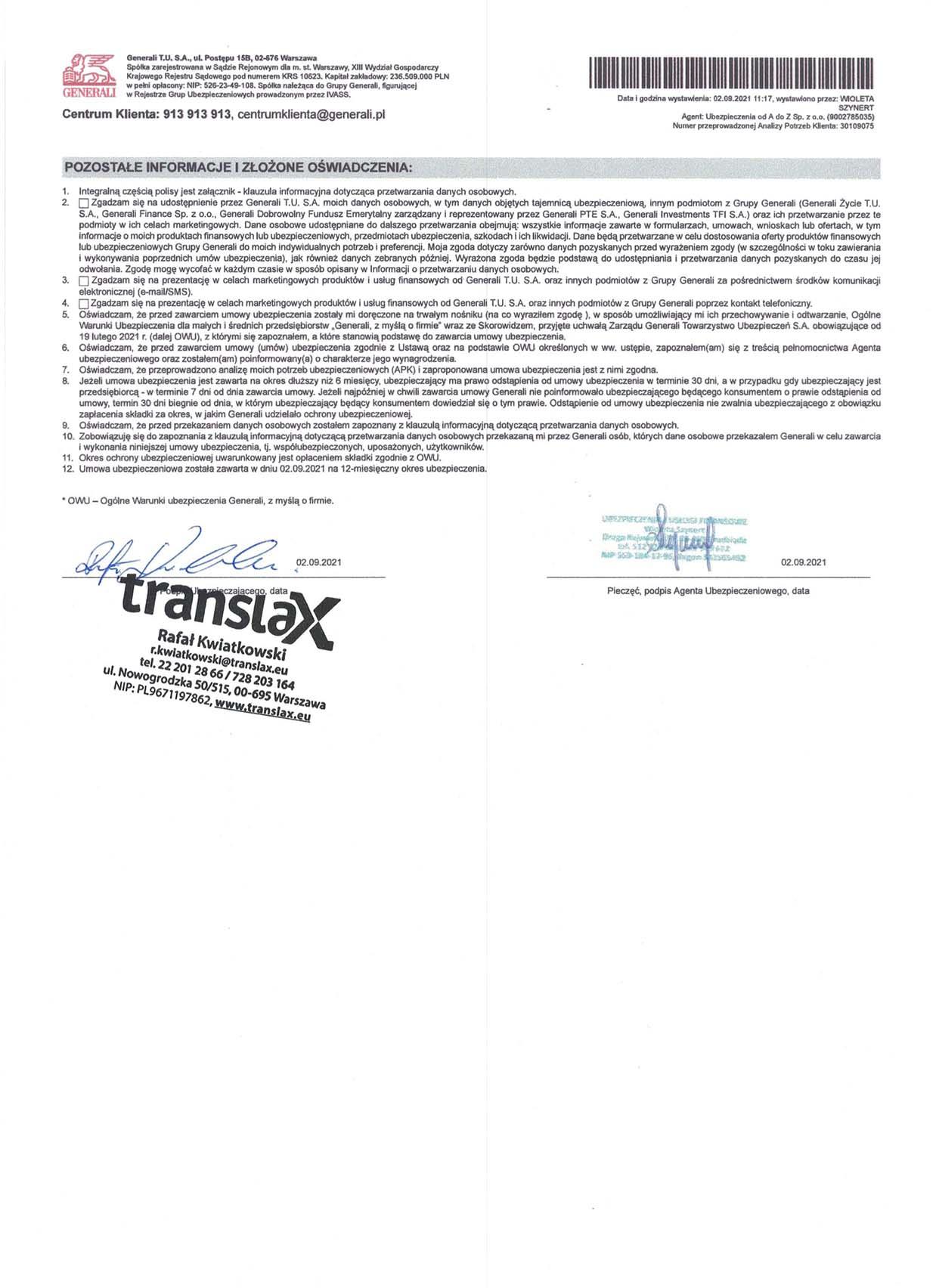 Polisa OC na2022 Strona 2  - Dokumenty