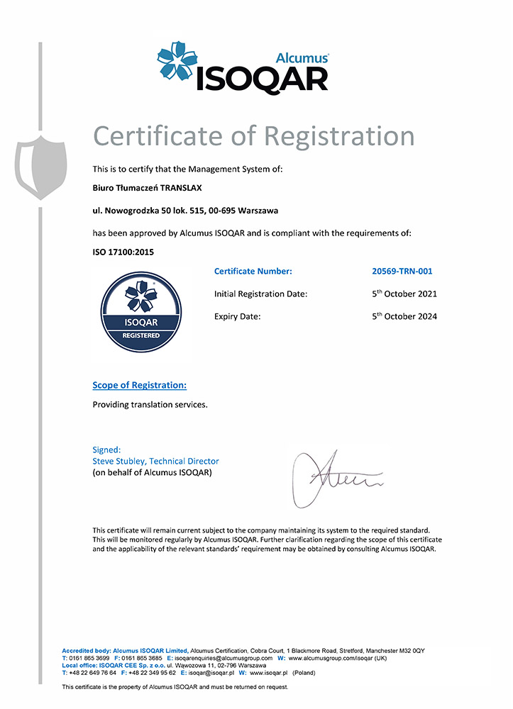 Certyfikat ISO 17100 2015 Translax Translation Office - Documents